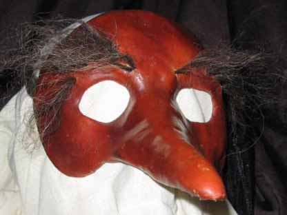 Zanni leather long nose mask with hairy eyebrows