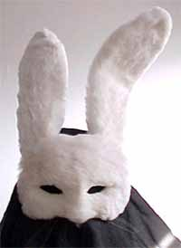 Custom crafted Bunny half-mask, furry Rabbit ears and face