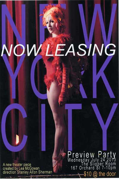 Now Leasing preview Party flyer with Lea McGown in a classy chicken costume on ballet point.