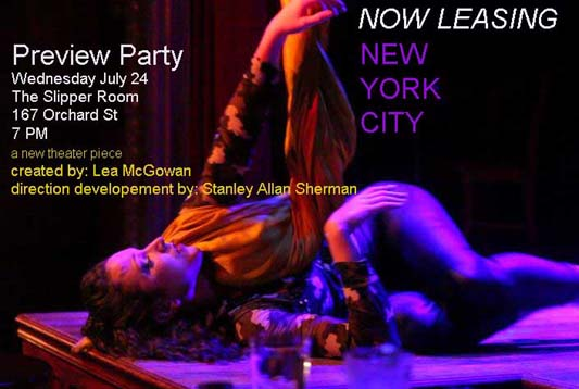Now Leasing preview party post card. a new theater piece with a photo of  Lea McGown on the floor of the stage after coming down from theariel silk.