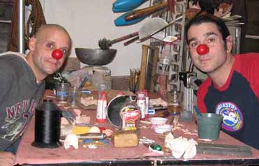 Rob Torres & Keith Nelson trying on their new clown noses they made