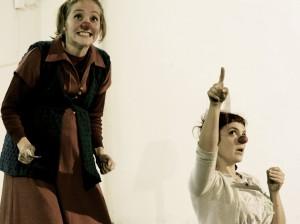 Jennifer Sargent and Maja Bieler clowns  - excitement