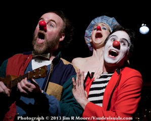 Three Clown Richard Kent Green, Mister Clown and Missus Cordella Clown singing with Missus clown in a shower cap