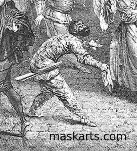 Arlecchino with his slapstick at his side, when the Commedia dell'Arte companies were kicked out of France by Louis XIV 1697.
